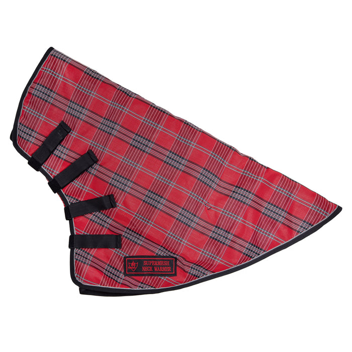 Red, black and white plaid neck warmer