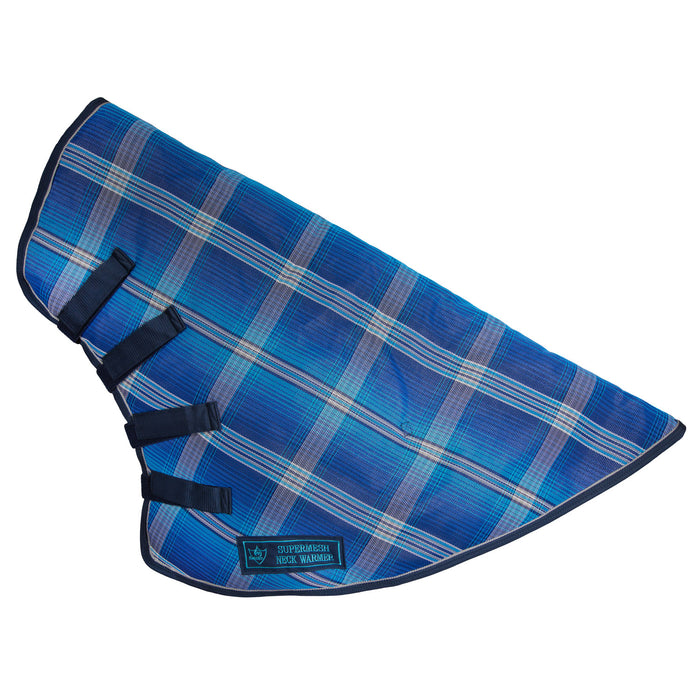 Navy, blue and white plaid neck warmer