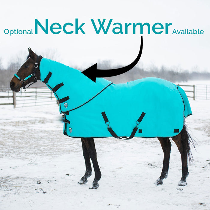 Bay horse wearing red heavy weight turnout blanket and neck warmer