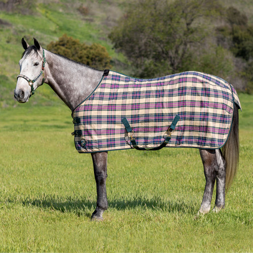 Hunter green, tan and plum plaid poly cotton day turnout stable sheet