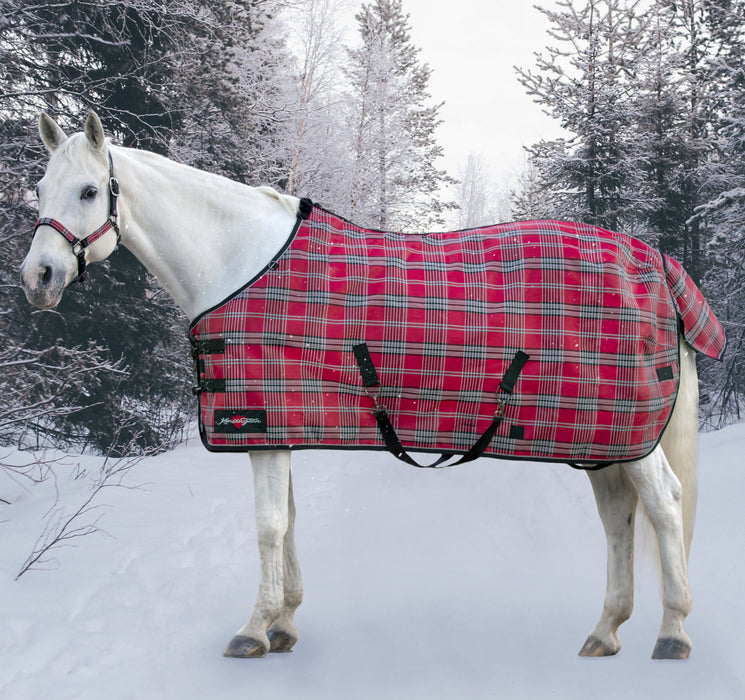 Kensington SuperMesh waterproof turnout winter blanket. Horse in snow. Red plaid
