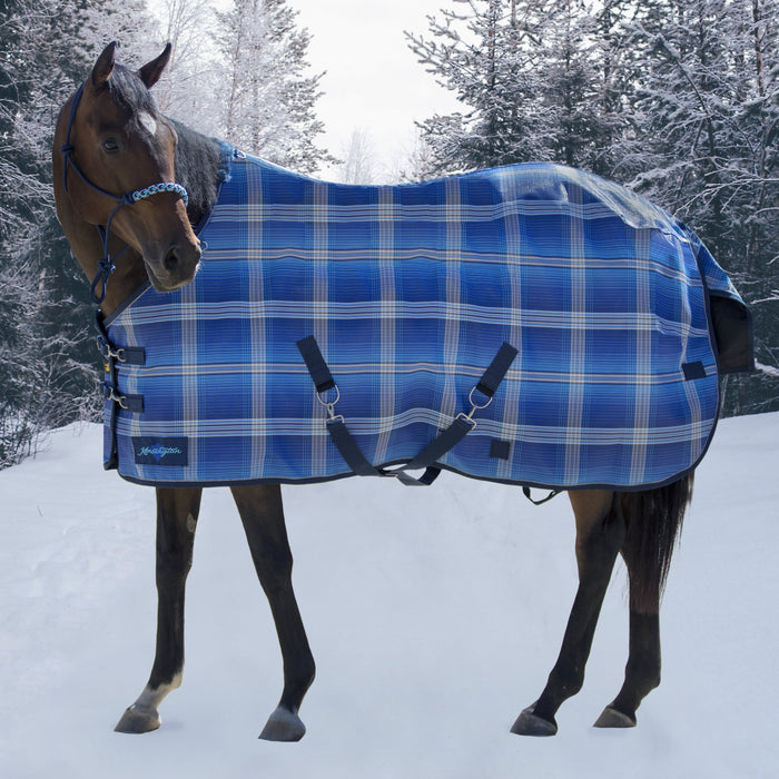 Kensington SuperMesh waterproof turnout winter blanket. Horse in snow. Blue plaid