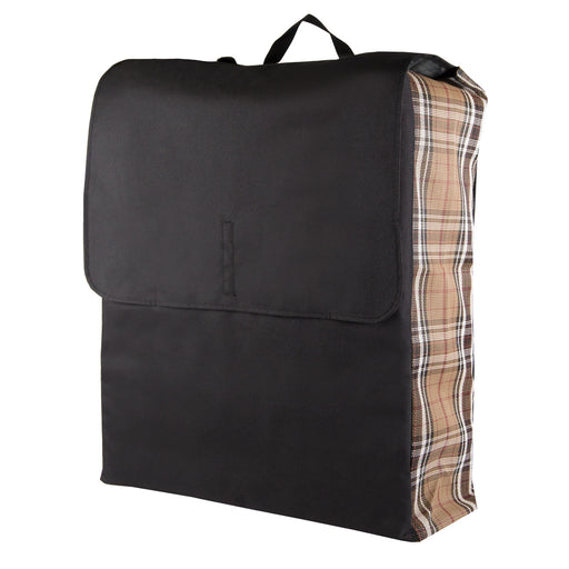 Tan plaid and black blanket storage bag