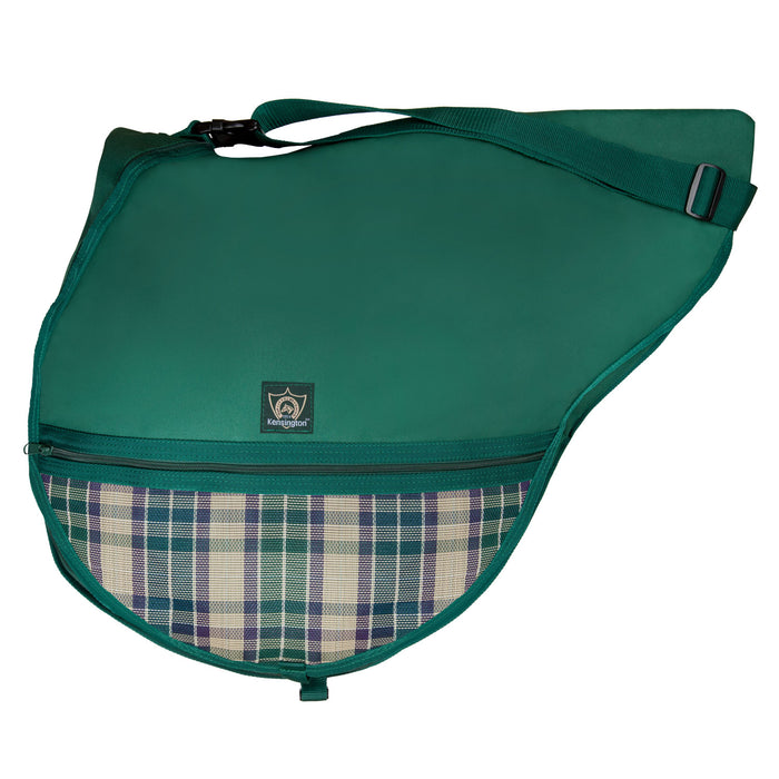 Hunter green bag with adjustable strap. Plaid textilene pocket.