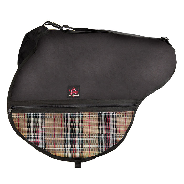 Black saddle bag with adjustable strap. Tan plaid textilene pockets. Zippers and clips shown