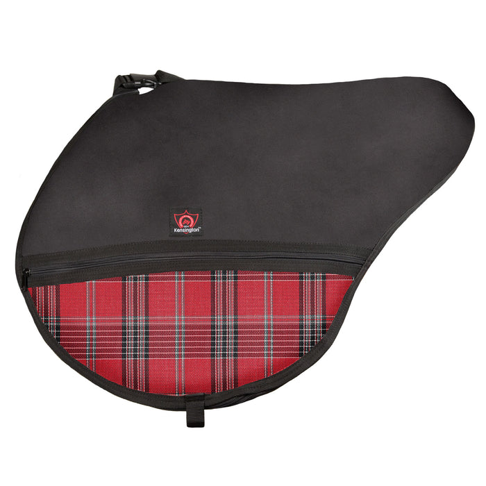 Black saddle bag with adjustable strap. Red plaid textilene pockets. Zippers and clips shown