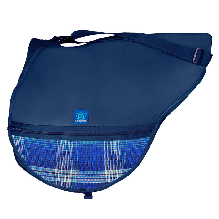 Navy saddle bag with adjustable strap. Bright blue plaid textilene pockets. Zippers and clips shown