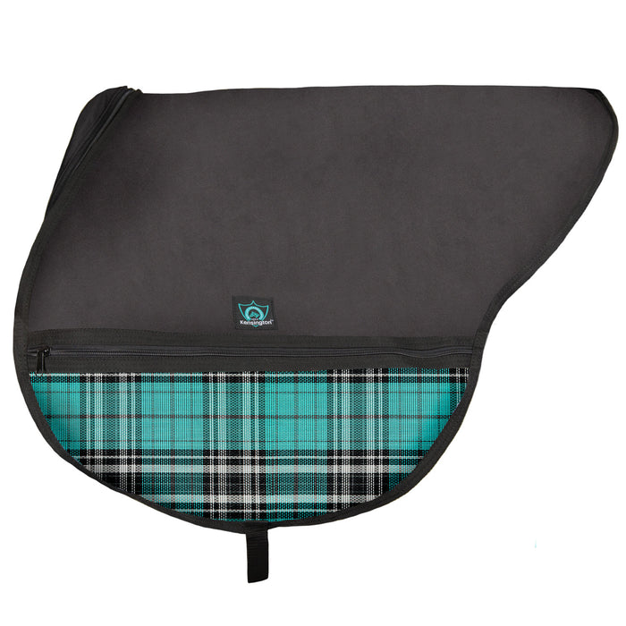 Black saddle bag with adjustable strap. Turquoise plaid textilene pockets. Zippers and clips shown