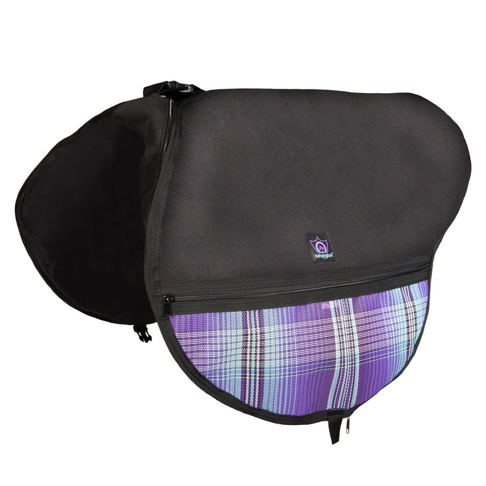 Black saddle bag with adjustable strap. Purple plaid textilene pockets. Zippers and clips shown