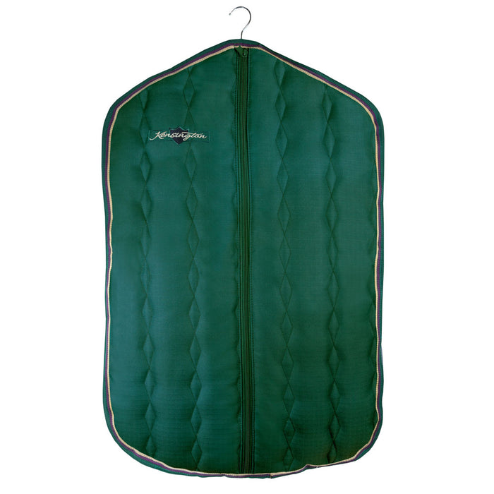 Padded Garment Carrier bag. Green with gold trim