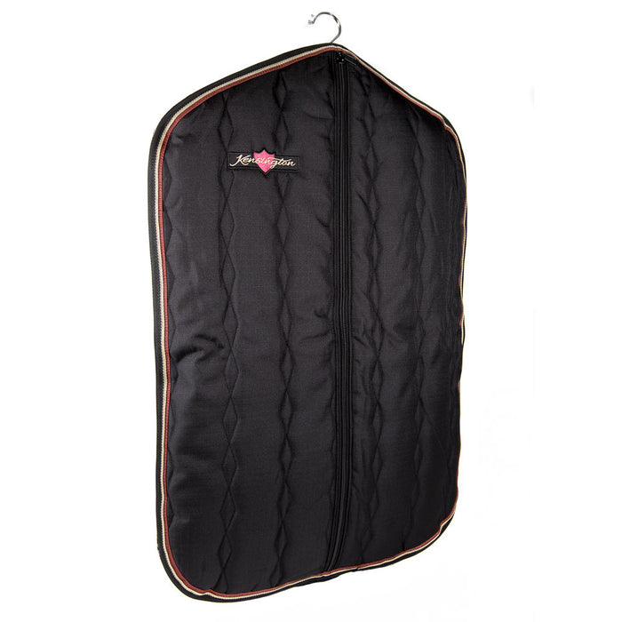 Padded Garment Carrier bag. Black with gold trim