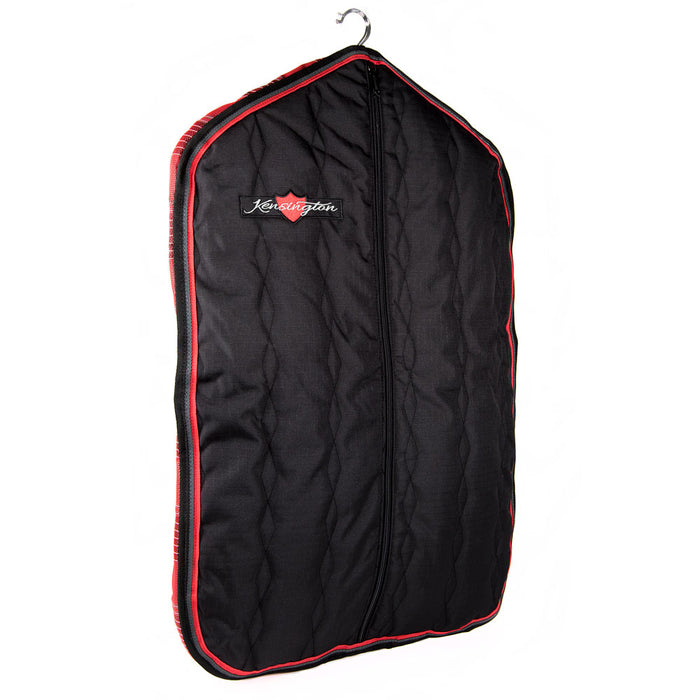 Padded Garment Carrier bag. Black with red trim