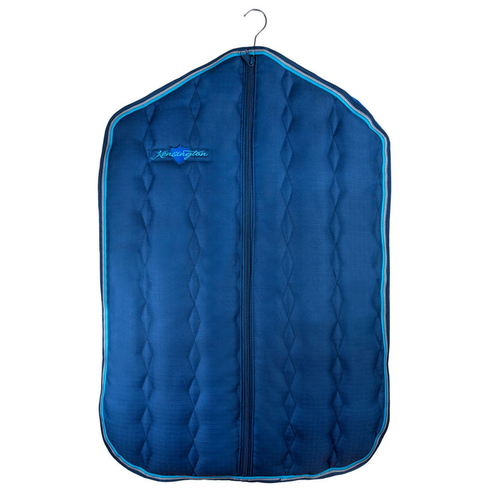 Padded Garment Carrier bag. Blue with light blue trim