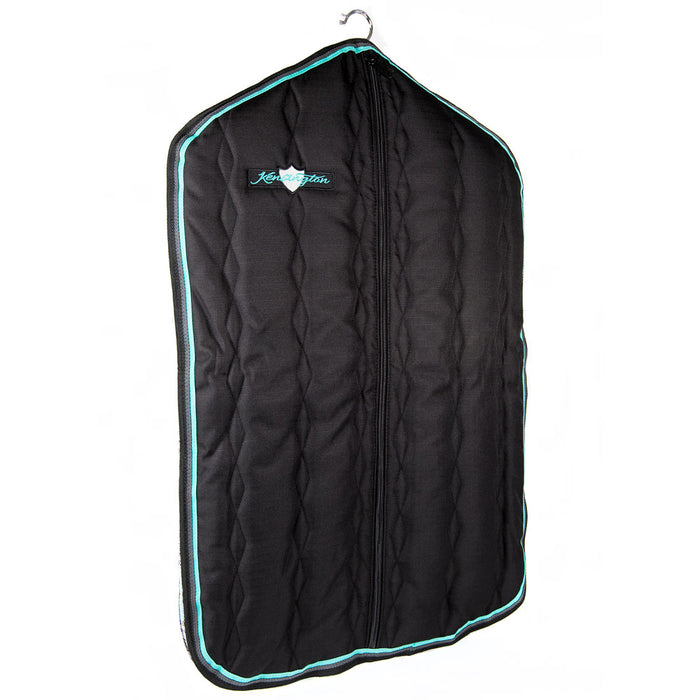 Padded Garment Carrier bag. Black with turquoise trim