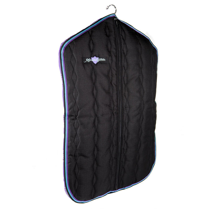 Padded Garment Carrier bag. Black with purple trim