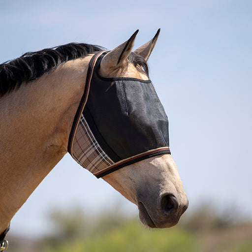 Kensington UViator Protective Fly Mask. 90% UV. Eye protection. Tan plaid with black