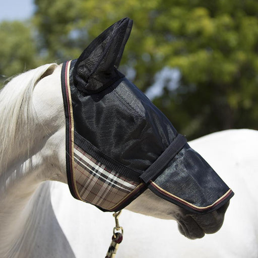 Horse wearing tan and black 90% UV protective Uviator mask