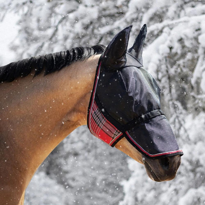 Horse in snow wearing red and black 90% UV protective Uviator mask