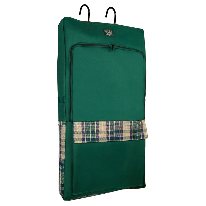Hunter green bridle bag. Pockets feature plum, tan, and green colors. Shown with hooks on top, pockets on the front and two sides.