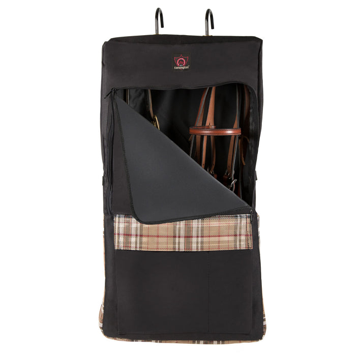 Black and tan bag with hooks and pocket. Shown with bridles inside.