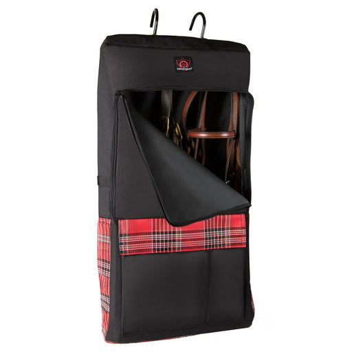Red and black bag with hooks. Shown with bridles inside