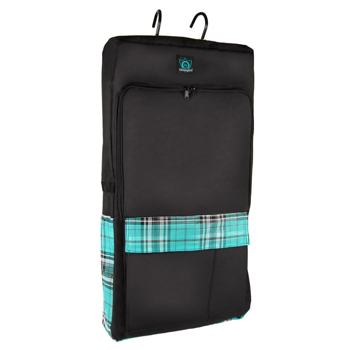 Black bridle bag with turquoise, white and black plaid pockets. Shown with hooks on top, pockets on the front and two sides.