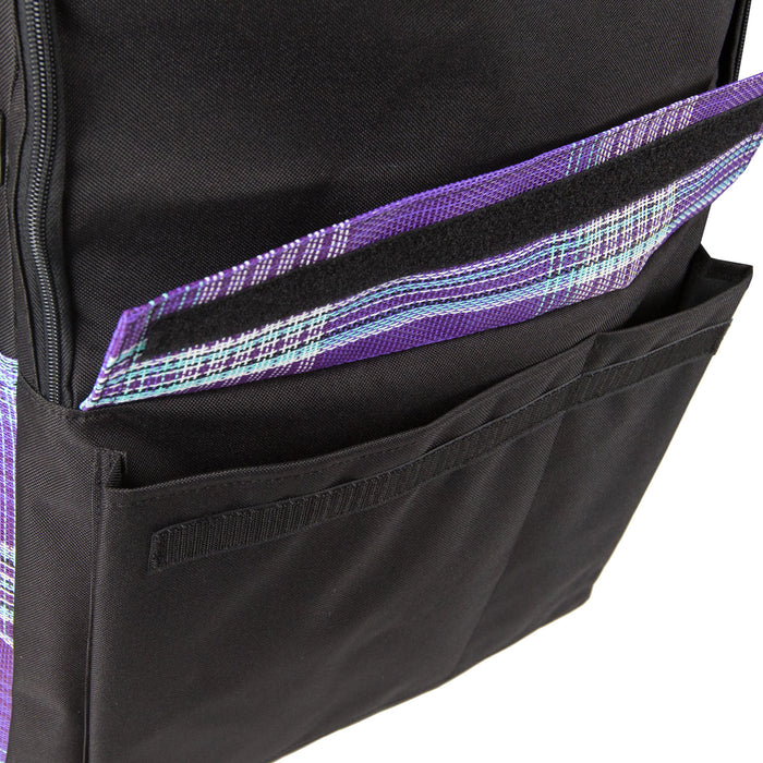 The front has a textilene flap that lifts to reveal two pockets. One hand sized and the other for larger items. A hook and loop closure running the full length of both pockets keeps the flap closed.