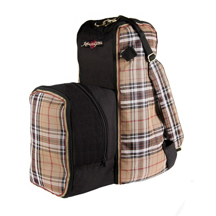 Tan plaid and black padded boot and helmet carrier