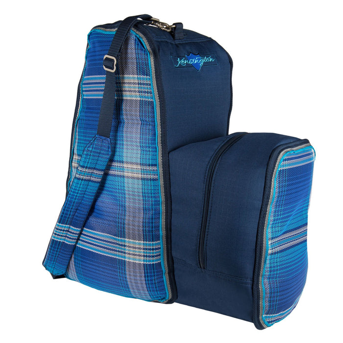 Blue plaid and navy padded boot and helmet carrier