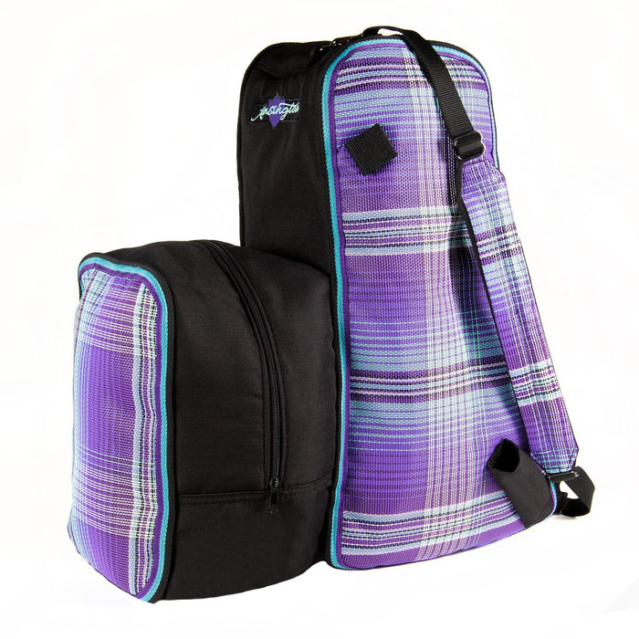 Purple plaid and black padded boot and helmet carrier