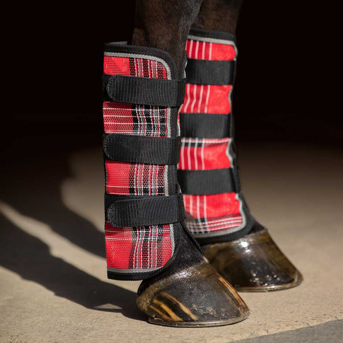 Red plaid and black color fly boots with web trim