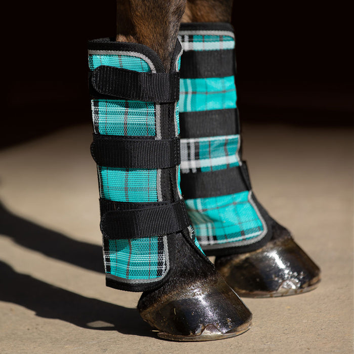 Turquoise plaid and black color fly boots with web trim