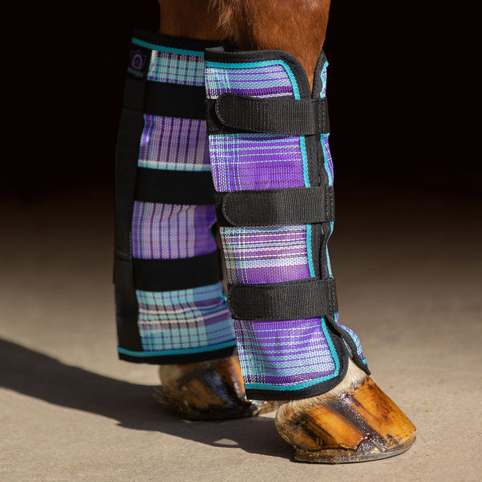Purple plaid and black color fly boots with web trim
