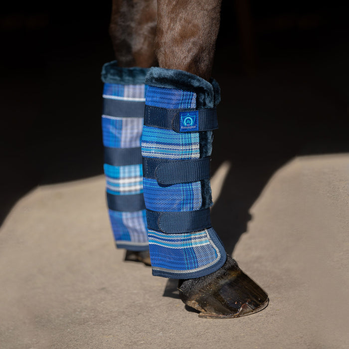 blue plaid and navy color fly boots with fleece trim