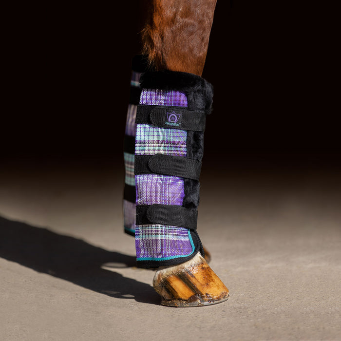 Purple plaid and black color fly boots with fleece trim