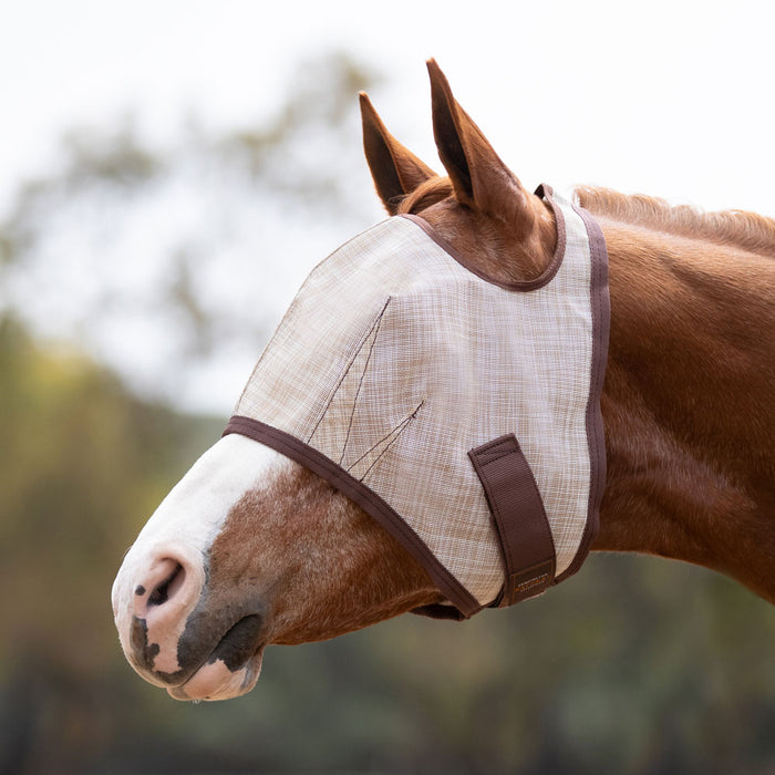 Kensington fly mask with 73% UV protection. Open forelock. Tan, brown