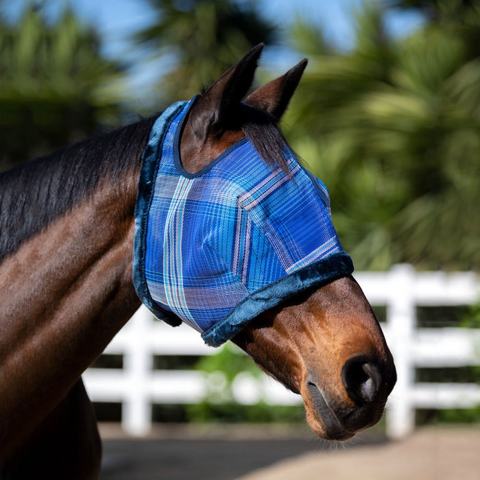 blue Fly Mask with Open Forelock and Fleece Trim. 73% UV protection.