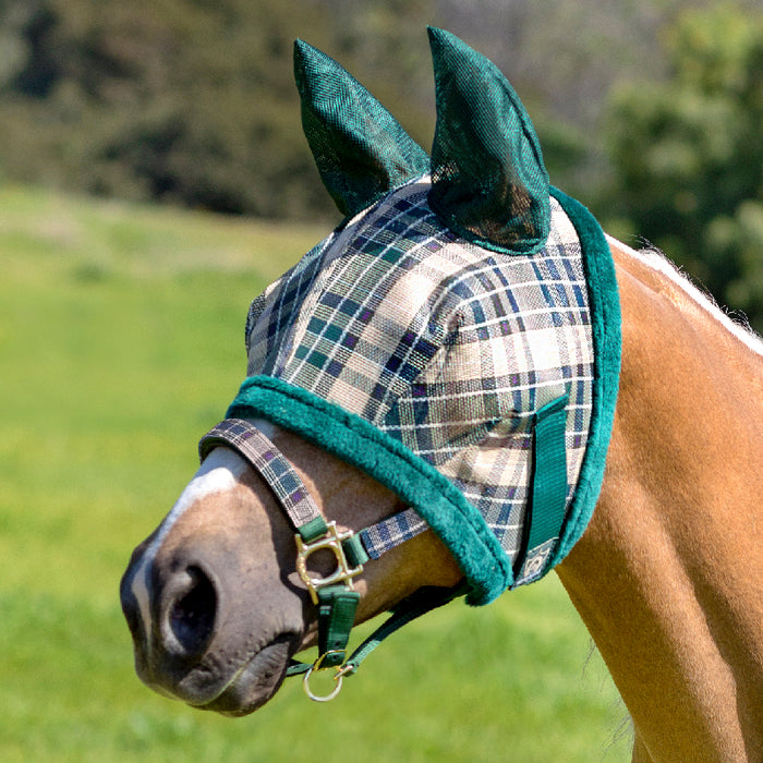 Kensington fly mask with fleece trim and ears. 73% UV protection. Tan, green and plum plaid with green trim and ears.