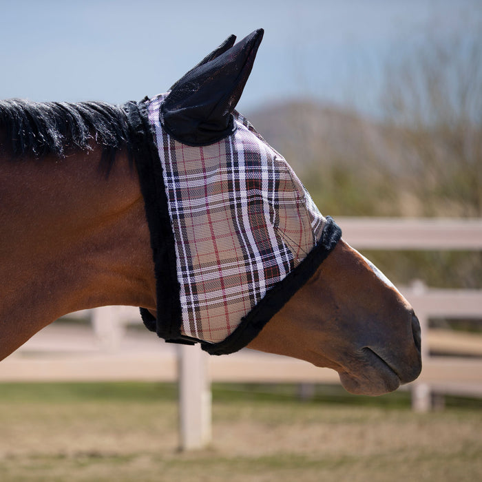 Kensington fly mask with fleece trim and ears. 73% UV protection. Tan plaid with black trim and ears.