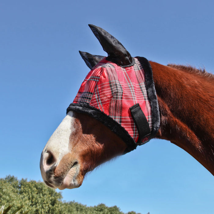 Kensington fly mask with fleece trim and ears. 73% UV protection. Red plaid with black trim and ears.