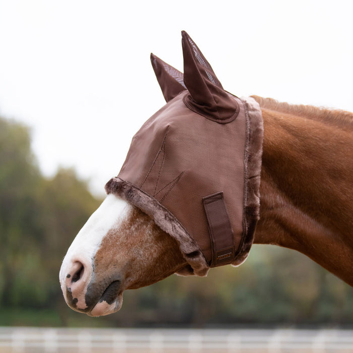 Kensington fly mask with fleece trim and ears. 73% UV protection. Bay brown color