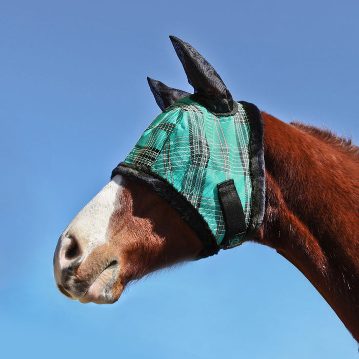 Kensington fly mask with fleece trim and ears. 73% UV protection. Turquoise plaid with black trim and ears.