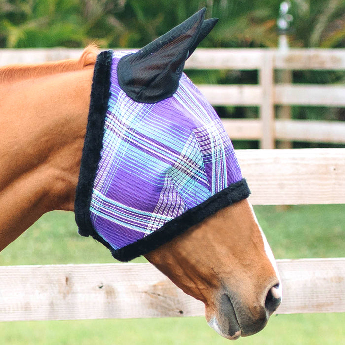 Kensington fly mask with fleece trim and ears. 73% UV protection. Purple plaid with black trim and ears..