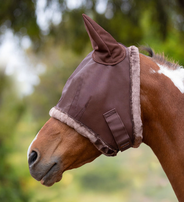 Kensington fly mask with fleece trim and ears. 73% UV protection. Sorrel, chestnut, brown color
