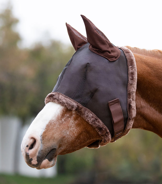 Kensington fly mask with fleece trim and ears. 73% UV protection. Black with brown trim