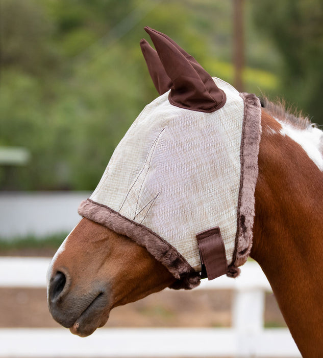 Kensington fly mask with fleece trim and ears. 73% UV protection. Tan grey with brown trim