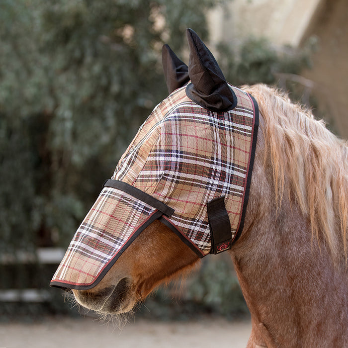 Draft fly mask with web trim, soft mesh ears. Tan