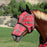 Draft fly mask with web trim, soft mesh ears. Red
