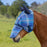 Draft fly mask with web trim, soft mesh ears. Blue