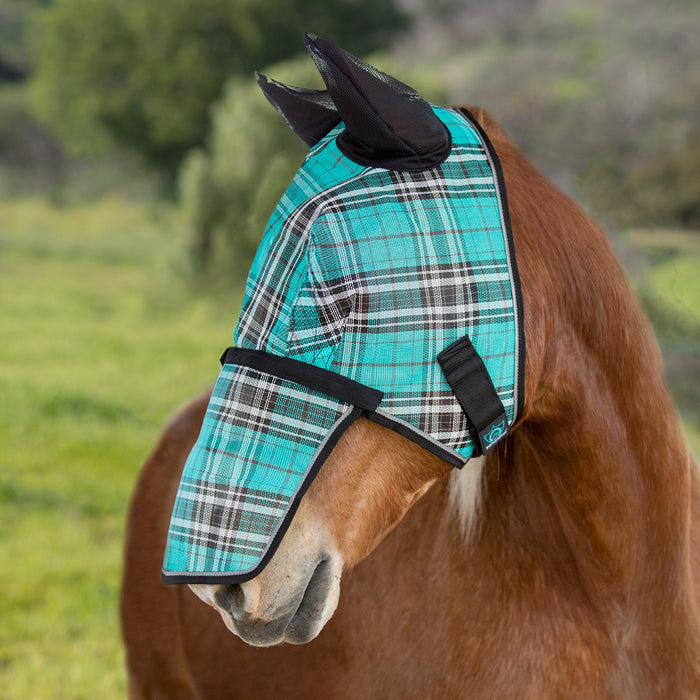 Draft fly mask with web trim, soft mesh ears. Turquoise